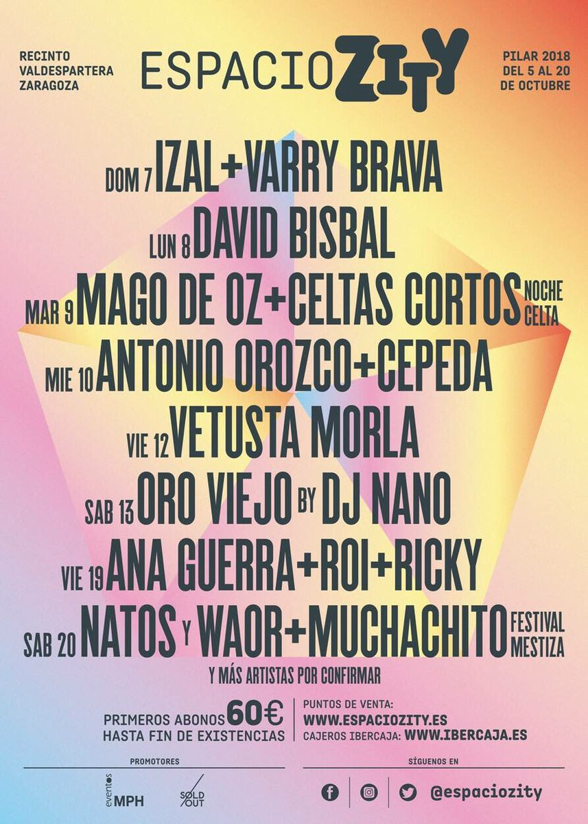 Espacio Zity - Programación musical del Espacio Zity Valdespartera para estas Fiestas del Pilar de Zaragoza 2018
