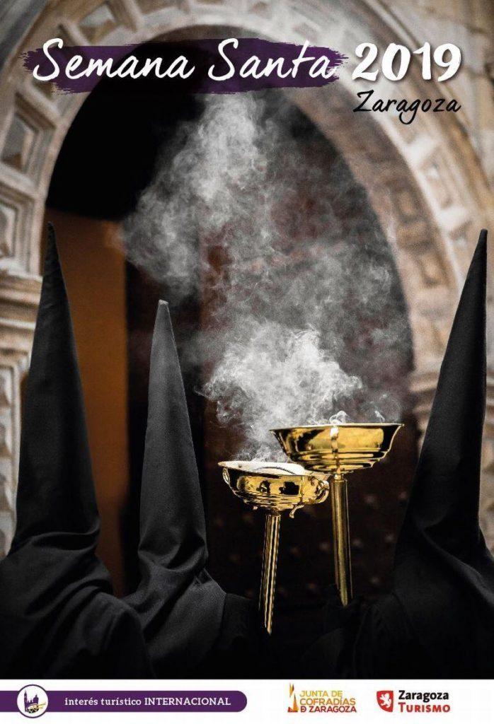 Programa-de-Semana-Santa-en-Zaragoza-2019-Cartel-anunciador-de-la-Semana-Santa-Zaragoza-2019-en-honor-a-la-Cofradía-del-Silencio Los mejores planes para disfrutar de la Semana Santa en Aragón